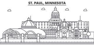 St Paul, Minnestoa architektury linii linii horyzontu ilustracja Liniowy wektorowy pejzaż miejski z sławnymi punktami zwrotnymi,  ilustracja wektor