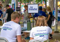 Amy Klobuchar for Senate Campaign Event. ST. PAUL, MN/USA - AUGUST 29, 2018: Unidentified individuals at an Amy Klobuchar senatorial campaign event royalty free stock image