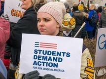 The March for Our Lives March in St. Paul, Minnesota, USA. royalty free stock images