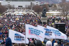 The March for Our Lives March in St. Paul, Minnesota, USA. royalty free stock photo