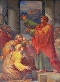 St. Paul preaching. The fresco with the image of the life of St. Paul: St. Paul preaching, basilica of Saint Paul Outside the Walls, Rome, Italy Stock Photos