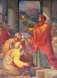 St. Paul preaching. The fresco with the image of the life of St. Paul: St. Paul preaching, basilica of Saint Paul Outside the Walls, Rome, Italy Stock Image