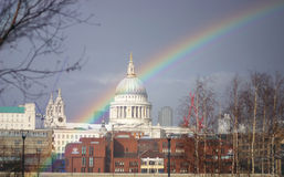 St Paul Rainbow1. Cathedral of St Paul, London, UK with Rainbow (symbol for the covenant between humankind and God stock photos