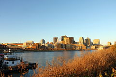 St. Paul River Front and Skyline over the Mississippi River stock photo