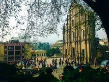 St Paul Ruins - Macao Arkivbilder