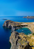 St Paul's Bay and the Acropolis of Lindos Stock Photography