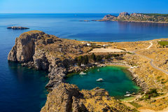 St Paul's Bay and the Acropolis of Lindos Stock Photos
