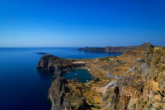 St Paul's Bay and the Acropolis of Lindos Royalty Free Stock Photo