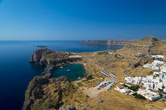St Paul's Bay and the Acropolis of Lindos Stock Image