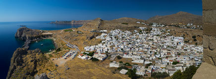 St Paul's Bay and the Acropolis of Lindos Royalty Free Stock Photos