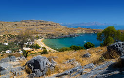 St Paul's Bay and the Acropolis of Lindos Royalty Free Stock Images