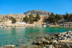 St Paul`s Bay Beach in Lindos on summer day, Rhodes, Greece royalty free stock photo