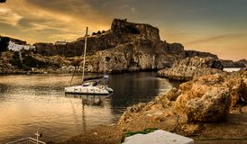 ST Paul`s bay,and horizon Aegean sea royalty free stock photos