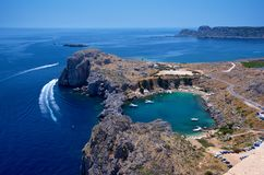St. Paul's bay in Lindos Royalty Free Stock Photo