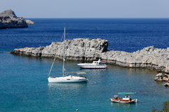St Paul's bay, Lindos, Rhodes Royalty Free Stock Photo