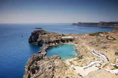 St Paul's Bay at Lindos, Rhodes Greece Stock Photography