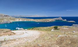 St paul's bay and rocks at Lindos, Rhodes, Greece Royalty Free Stock Photography