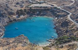 The St Paul`s baythe heart of Lindos stock photos