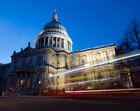 St Paul's Cathedral. With a bus's light trail royalty free stock photos