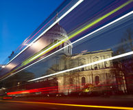 St Paul's Cathedral. At dusk witht he light trail of a passing bus Royalty Free Stock Photo