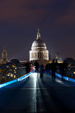 St Paul's Cathedral. At night looking over the Millennium bridge stock photos