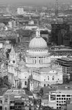 St.Paul`s Cathedral black and white photo aerial photo form the top. Desk Stock Photography