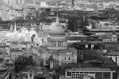St.Paul`s Cathedral black and white photo aerial. Photo form the top Stock Photography