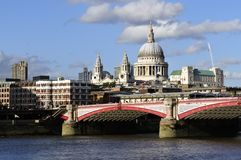 St Paul's Cathedral and Blackfriar's Bridge Stock Image