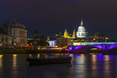 St Paul's Cathedral and Blackfriars Bridge. In London at night Royalty Free Stock Image