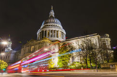 St Paul's cathedral with blurred bus trail Royalty Free Stock Photo