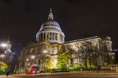 St Paul's cathedral with blurred bus Royalty Free Stock Image