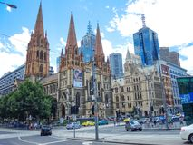 St Paul`s Cathedral is the cathedral church, location at the centre of Melbourne, on the eastern corner of Swanston Street. stock photography