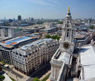 St Paul's Cathedral Clock Tower Panorama of London. Royalty Free Stock Image
