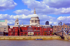 St Paul's Cathedral Dome and Millennium Bridge, London, United Kingdom Stock Photo