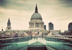 St Paul's Cathedral dome seen from Millenium Bridge in London, the UK. Royalty Free Stock Image