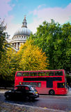 St. Paul´s Cathedral. Double decker and taxi passing by front of St Paul's Cathedral stock image
