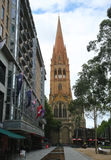 St. Paul`s Cathedral in Downtown Melbourne. View from City Square. Stock Photos