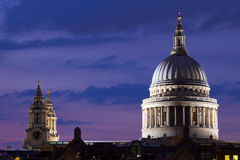 St. Paul's Cathedral at Dusk Stock Photos