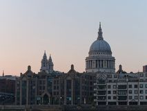 St Paul`s Cathedral at dusk, seen from the South Bank of the River Thames. St Paul`s Cathedral at dusk, seen from the South Bank of the River Thames, London, UK stock photos