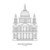St. Paul's Cathedral, London landmark vector Illustration Stock Photography