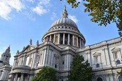 St Paul`s Cathedral London lateral view. The second-largest church building in United Kingdom Royalty Free Stock Image