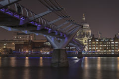 St Paul`s Cathedral London. Millennium Bridge from St Paul`s Cathedral London England Royalty Free Stock Image