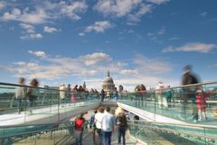 St Paul's Cathedral and London Millennium Footbridge, UK Royalty Free Stock Photos
