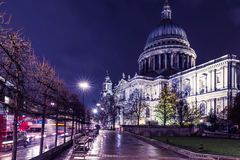 St Paul`s Cathedral in London at night. Iconic view of St Paul`s Cathedral in London Royalty Free Stock Photography