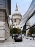 St Pauls Cathedral London. St Pauls Cathedral seen from the cobbled Watling Street royalty free stock photos
