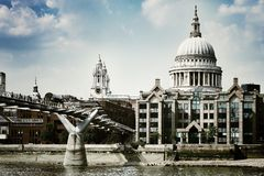 St. Paul's cathedral. London skyline bridge Thames Royalty Free Stock Image