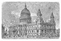 St Paul`s Cathedral, London,vintage engraving Royalty Free Stock Images