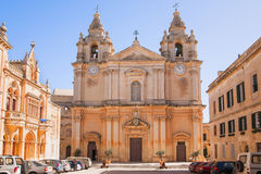 The St. Paul's Cathedral in Malta's old capital Mdina. Stock Photography