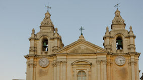 The St. Paul's Cathedral in Malta's old capital Mdina in late afternoon. Stock Photography