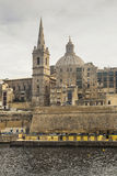 St. Paul`s Cathedral from Marsamxetto harbour in Valletta on Malta. Royalty Free Stock Image